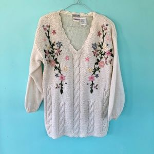 Vintage 80's Long Embroidered Sweater